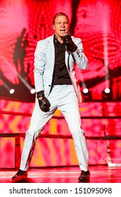 Raleigh, NC - August 20:  Brian Littrell of The Backstreet Boys live in concert on their 20th anniversary and In A World Like This Tour on August 20, 2013 in Raleigh, NC.
