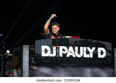 Raleigh, NC - August 20:  DJ Pauly D performs as the opening act on The Backstreet Boys live in concert on their 20th anniversary and In A World Like This Tour on August 20, 2013 in Raleigh, NC.