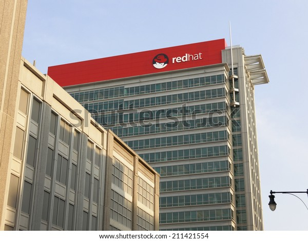 RALEIGH, NC  AUGUST 7: The Red Hat World Headquarters building located in downtown Raleigh, North Carolina on August 7, 2014. Red Hat, Inc. is in American multinational software company.