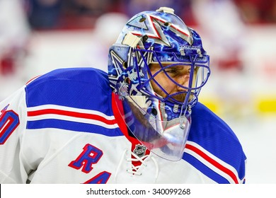RALEIGH, NC - December 20, 2014: New York Rangers goalie Henrik Lundqvist (30) during the NHL game between the New York Rangers and the Carolina Hurricanes at the PNC Arena.
