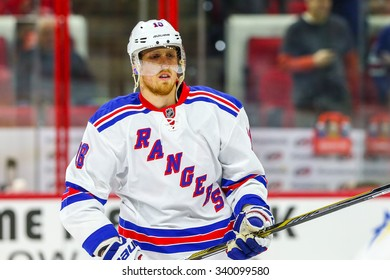 RALEIGH, NC - December 20, 2014: New York Rangers defenseman Marc Staal (18)during the NHL game between the New York Rangers and the Carolina Hurricanes at the PNC Arena.