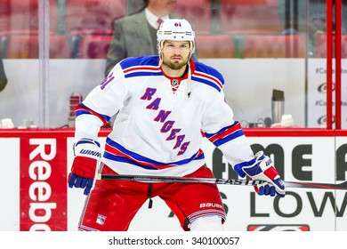 RALEIGH, NC - December 20, 2014: New York Rangers left wing Rick Nash (61) during the NHL game between the New York Rangers and the Carolina Hurricanes at the PNC Arena.
