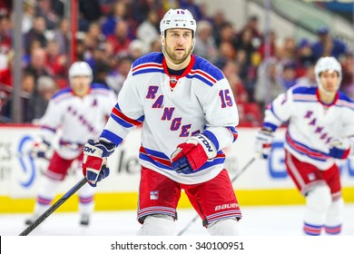RALEIGH, NC - December 20, 2014: New York Rangers left wing Tanner Glass (15) during the NHL game between the New York Rangers and the Carolina Hurricanes at the PNC Arena.