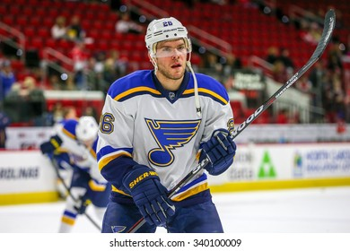 RALEIGH, NC January 30, 2015: St. Louis Blues center Paul Stastny (26) during the NHL game between the St Louis Blues and the Carolina Hurricanes at the PNC Arena.