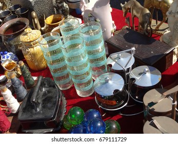 RALEIGH, NC - MAY 2014: A variety of items available for sale at an outdoor flea market.