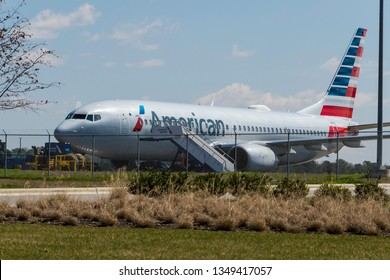 Raleigh, NC, United States- 03/22/2019-  This Boeing 737 Max, taken at Raleigh Durham International Airport, is part of the world-wide grounding due to a safety issue.