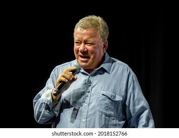 Raleigh. NC USA 07 30 21 William Shatner at Galaxy Con convention. Best known for his portrayal of Captain James T. Kirk of the USS Enterprise in the Star Trek franchise.