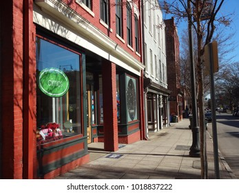 RALEIGH, NC / USA - APRIL 2014: Shops Line the Sidewalk in Downtown Raleigh, North Carolina