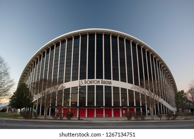 RALEIGH, NC, USA - December 22, 2018: J.S. Dorton Arena is an multi-purpose sports and recreation arena on the grounds of the North Carolina State Fair.