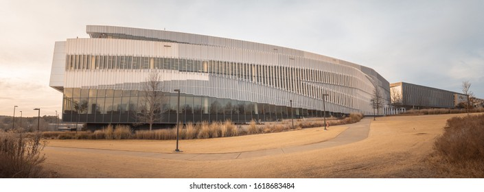 Raleigh/ NC/ USA - December 27, 2019: The modern James B. Hunt Jr. Library on the campus of North Carolina State University (NCSU)