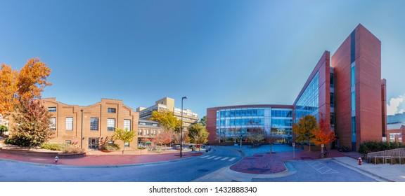 RALEIGH, NC, USA - NOVEMBER 24: SAS Hall and Park Shops on November 24, 2017 at North Carolina State University, North Campus in Raleigh, North Carolina.