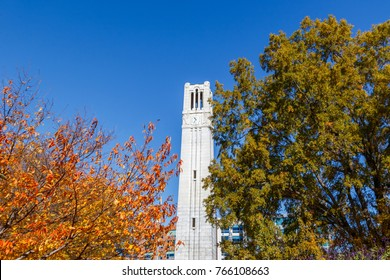 RALEIGH, NC, USA - NOVEMBER 24:  Memorial Belltower on November 24, 2017 at North Carolina State University in Raleigh, North Carolina.