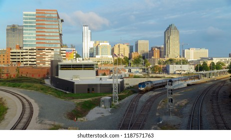 Raleigh, NC USA. Sep 2018. View on downtown Raleigh with the newly completed union station building. Union station is Raleigh's new transportation hub combining Amtrak and bus services.