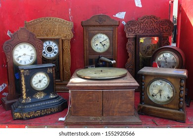 RALEIGH, NC / USA - Sept 2019: Vintage Clocks for Sale at a Flea Market
