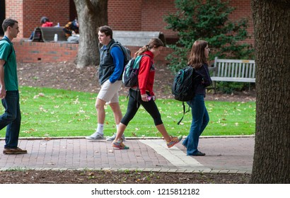 Raleigh, NC/North Carolina- 11/12/2014: Students wander around campus between classes at NC State University.