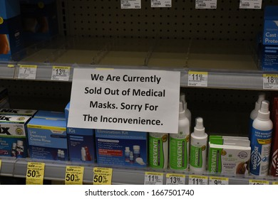Raleigh, NC/United States- 03/08/2020: Medical masks are out of stock at a Target as denoted by a sign.