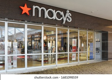 Raleigh, NC/United States- 03/18/2020: A Macy's department store has voluntarily closed inside a mall amid the COVID-19 (coronavirus) outbreak.