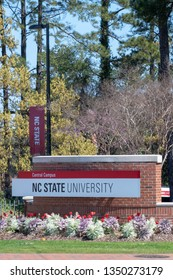 Raleigh, NC/United States- 03/26/2019:Visitors to the North Carolina State University are greeted with this sign as they enter the Central Campus