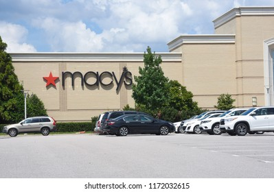 Raleigh, NC/United States- 09/04/2018: The exterior of a Macy's department store is seen on a cloudy day.