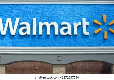 Raleigh, NC/United States- 09/04/2018: The exterior of a Walmart as seen from outside.