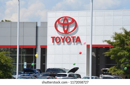 Raleigh, NC/United States- 09/04/2018: The exterior of a Toyota dealership is seen from outside in Raleigh.