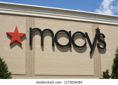 Raleigh, NC/United States- 09/04/2018: The sign of a Macy's department store as seen from the exterior of a mall.