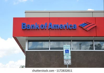 Raleigh, NC/United States- 09/05/2018: The Bank of America logo is seen from the exterior of a retail location.