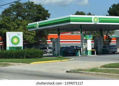Raleigh, NC/United States- 09/29/2018:  The exterior of a BP gas station as seen from the street.