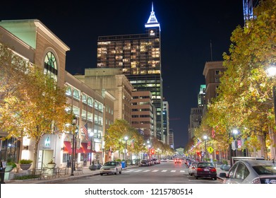 Raleigh, NC/United States- 11/13/2015: Downtown Raleigh at night along Fayetteville Street.