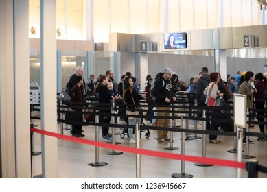 Raleigh, NC/United States- 11/21/2018:  Airline passengers wait in line for security inspection at RDU International airport.