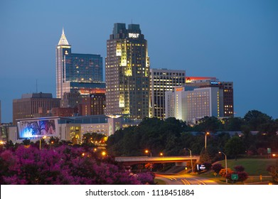 Raleigh, NC/US- 09/26/2013: A partial view of Raleigh's skyline from South Saunders street.