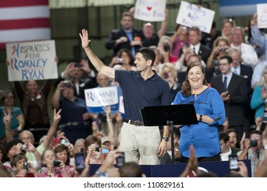 RALEIGH, NORTH CAROLINA - AUG 22: Candidate hopeful Paul Ryan swings through Raleigh for a campaign rally at SMT Inc., a power painting company in Raleigh, North  Carolina on August 22, 2012.