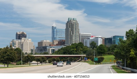 RALEIGH, NORTH CAROLINA - AUGUST 22, 2015 - View of the Raleigh skyline from near the Western Boulevard exit