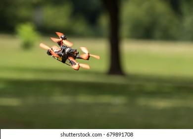 RALEIGH, NORTH CAROLINA - JULY 15: Drone racing on 15 July 2017 at Dorothea Dix Park