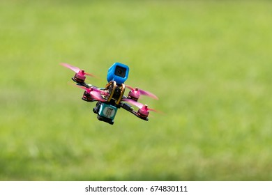 RALEIGH, NORTH CAROLINA - JULY 9: Drone racing round the trees and gates on 9 July 2017 at Dorothea Dix Park