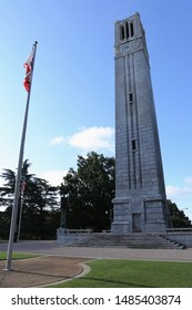 Raleigh, North Carolina / United States of America - August 18 2019 - North Carolina State University Memorial Bell Tower