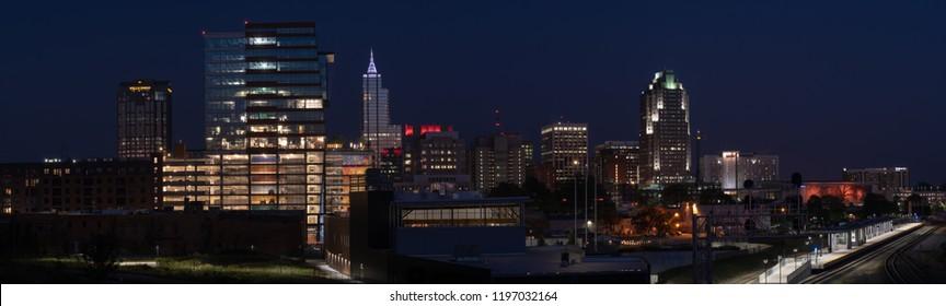 Raleigh, North Carolina / USA - 10/06/2018: Panoramic downtown Raleigh skyline at night