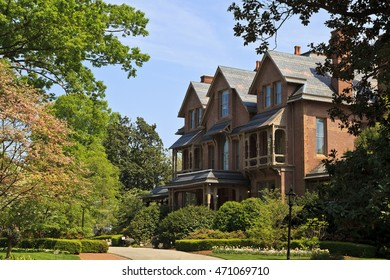 Raleigh, North Carolina, USA - April 4, 2012: North Carolina Executive Mansion in Raleigh, built 1883 Queen Anne style architecture