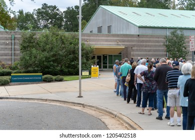 RALEIGH, NORTH CAROLINA / USA - OCTOBER 17, 2018: Voters waiting in line for first day of early voting at Lake Lynn Community Center
