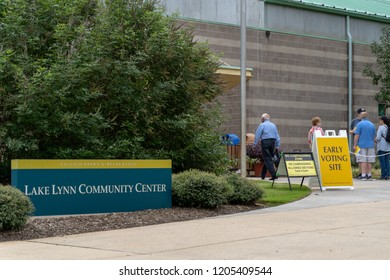 RALEIGH, NORTH CAROLINA, USA - OCTOBER 17, 2018: Lake Lynn Community Center early voting for 2018 midterm elections - Raleigh, North Carolina