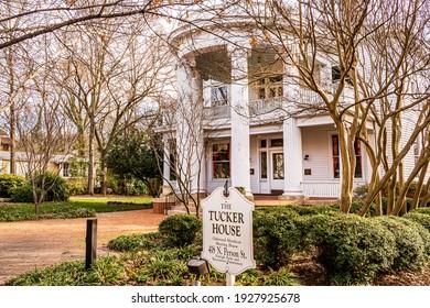Raleigh, North Carolina USA-03 02 2021: The Tucker House on Person Street is a Landmark in the Historic Oakwood Neighborhood.