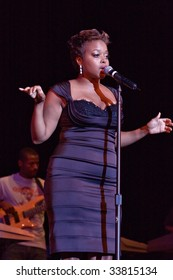 RALEIGH, NORTH CAROLINA-JUNE 28: Chrisette Michele performs on stage at Raleigh Memorial Convention Hall on June 28, 2008in Raleigh, North Carolina.