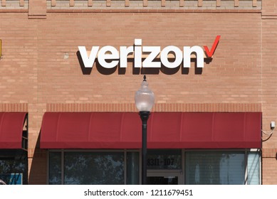 Raleigh, North Carolina/United States- 10/24/2018: The exterior of a Verizon retail location.