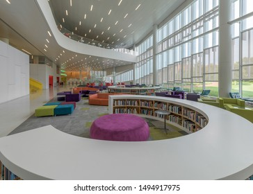 RALEIGH, NORTH CAROLINA/USA - JULY 26, 2019: Interior of the modern James B. Hunt Jr. Library at 1070 Partners Way on the campus of North Carolina State University