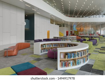 RALEIGH, NORTH CAROLINA/USA - JULY 26, 2019: Interior of the modern James B. Hunt Jr. Library at 1070 Partners Way on the campus of North Carolina State University