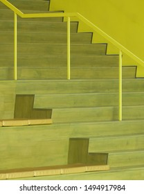 RALEIGH, NORTH CAROLINA/USA - JULY 26, 2019: Yellow stairs in the James B. Hunt Jr.  Library on the campus of North Carolina State University