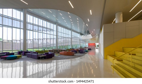 RALEIGH, NORTH CAROLINA/USA - JULY 27, 2019: Interior of the modern James B. Hunt Jr. Library on the campus of North Carolina State University