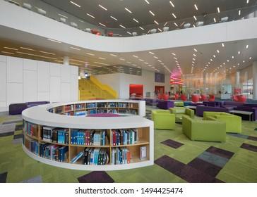RALEIGH, NORTH CAROLINA/USA - JULY 27, 2019: Interior of the modern James B. Hunt Jr. Library on the campus of North Carolina State University