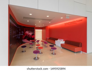 RALEIGH, NORTH CAROLINA/USA - JULY 27, 2019: Interior of the modern James B. Hunt Jr. Library on the campus of North Carolina State University in Raleigh