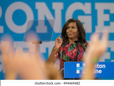 RALEIGH - OCTOBER 4: FLOTUS,  Michelle Obama, speaking to students at NC State University. Other speakers were former governor Jim Hunt and Deborah Ross, on October 4th, 2016 in Raleigh, USA.